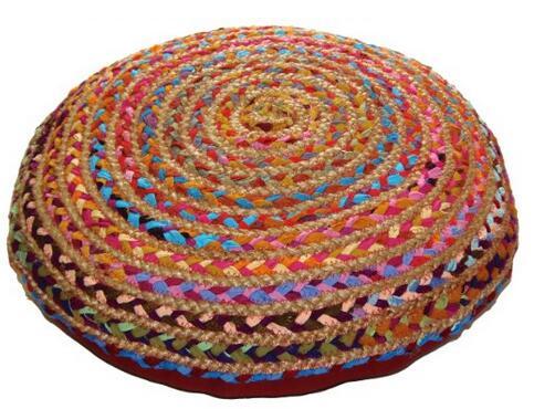 Cotton Craft Round Chindi Braid Floor Reversible Pillow