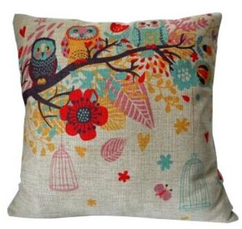 Cotton Linen Square Decorative Throw Pillow Case Birdcage