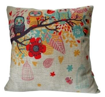 Cotton Linen Square Decorative Throw Pillow Case Cushion Cover Owls with Birdcage 18 18