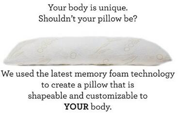 Shredded Memory Foam Body Pillow with Viscose Rayon Cover derived from Bamboo - Coop Home Goods