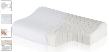 Talalay Natural Latex Pillow with 100% Ventilated Latex Foam Filler-Contoured Medium Pillow