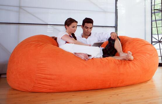 Jaxx 7 ft Giant Bean Bag Sofa, Mandarin