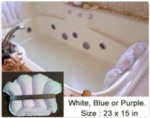 Aquasentials Inflatable Bath Pillow Terry Cloth Pillow